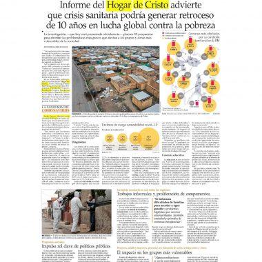 Informe del Hogar de Cristo advierte que crisis sanitaria podría generar retroceso de 10 años en la lucha global contra la pobreza
